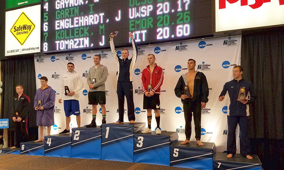 Ivan Garin (second from right) posted a pair of top-five finishes at NCAA Division III Championships. (Photo via @SlugSwim)