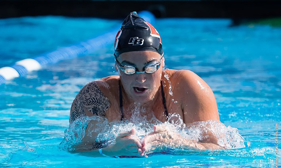 Morgan McClure claimed Cal State East Bay's first title of the meet in the 200 IM. (Kelley Cox/KLC Fotos)
